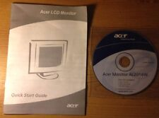 INSTRUCTIONS MANUAL Quick Start User's Guide & CD Acer AL2016W Monitor Screen