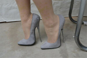 368ec9db3680 16CM Women s Pointed Toe Stilettos Gray Nightclub High Heels Shoes ...