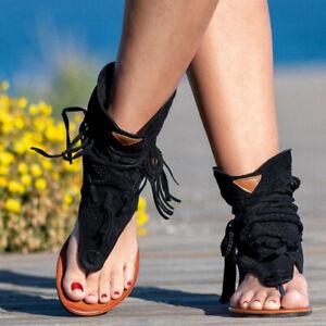 Infradito Donna Scarpe Basse Stivaletti sandalo donna Scarpe Gladiatore Outdoor Lacci