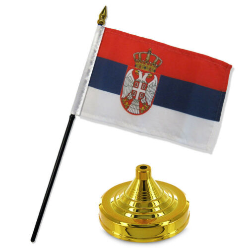 "Serbia 4/""x6/"" Flag Desk Set Table Stick Gold Base"