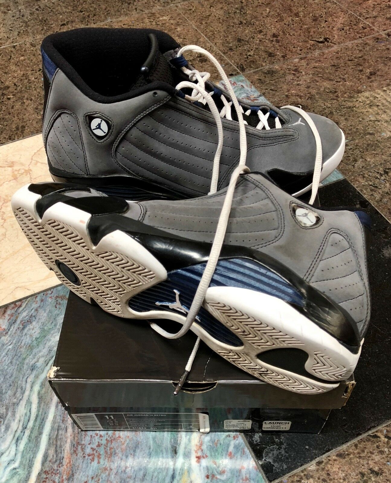 RARE NIKE Air Jordan 14 Retro XIV IV IX XIII Retro 14 Graphite Grey Navy 311832-011 11 61661d