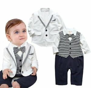 4f4d51f2a94b4 Baby Boy Wedding Christening White Tuxedo Outfit+Jacket Suit Clothes ...