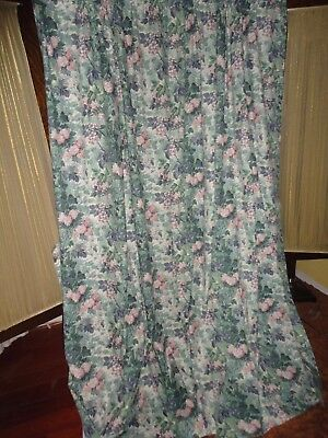 LAURA ASHLEY ASHBOURNE GREEN PINK BLUE FLORAL (PAIR) LINED PANELS 41X84 T/BACKS
