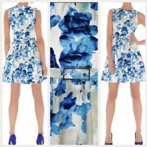 Stunning-Karen-Millen-White-Blue-Iris-Floral-Belt-Summer-Skater-Dress-UK-8-Party