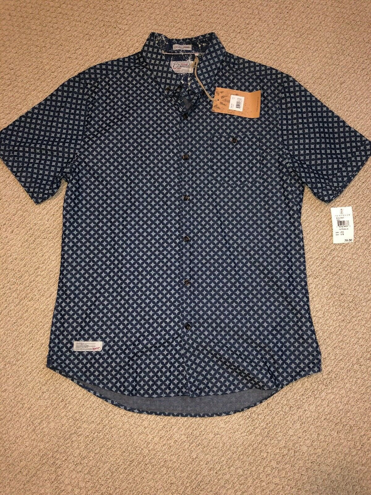 7 Diamonds Mens Aloha Trim Fit Short Sleeve Shirt Large L New  Navy S S NWT