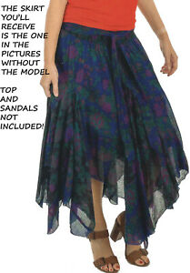 d62da94529 Nwt SACRED THREADS funky hippy patch purple smocked cotton SKIRT O/S ...