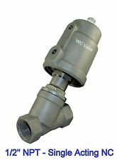 12 Half Inch Air Actuated Angle Seat Pneumatic Single Acting Steam Valve Nc