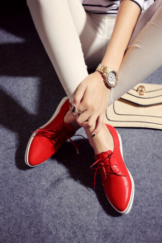 Women/'s Pointed Toe Patent Leather Lace Up Slip On Flat Casual Loafer  Shoe