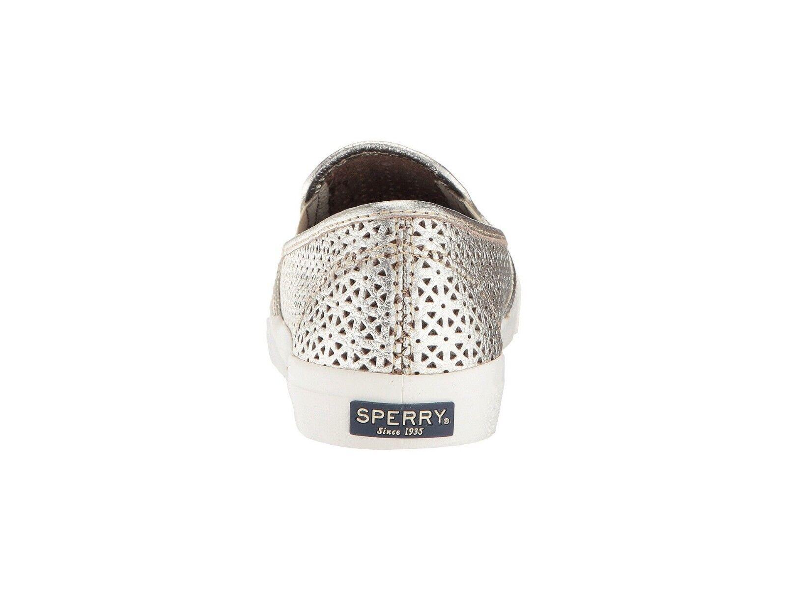 Sperry Seaside Nautical Perforated Slip Platinum Leder Slip Perforated On Comfort Sneaker 9 976858