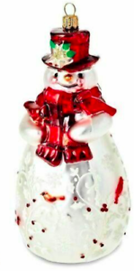 Hallmark 2018 Heritage Cardinal Snowman Blown Glass Keepsake Xmas Ornament NIB