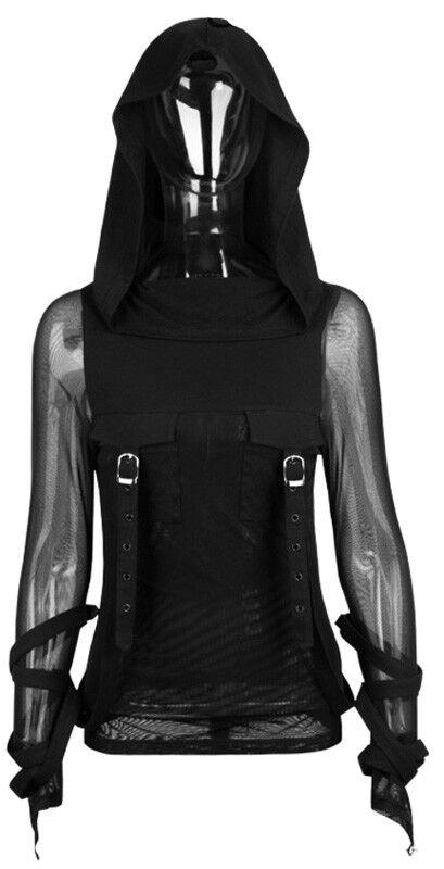Top haut haut haut hoodie gothique punk lolita voilage mitaine capuche fashion Punkrave 33e040