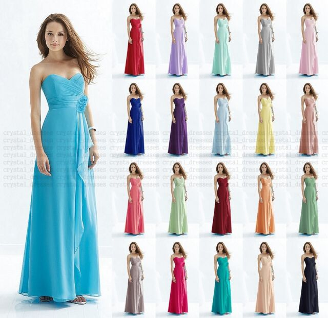 New Bridesmaid Dress Formal Long Evening  Ball Gown Party Prom Dresses Size 6-18