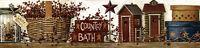 Primitive Folk Art Country Bath Outhouse Berry Basket Star Wallpaper Border