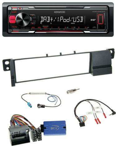 Kenwood MP3 USB Lenkrad DAB 1DIN Autoradio für BMW 3er E46 2001-2007 Quadlock