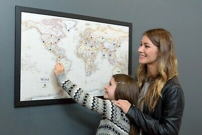 "USA Map Magnetic Black Frame W37/""XH25/"" Home School Family FREE SHIP!! Business"