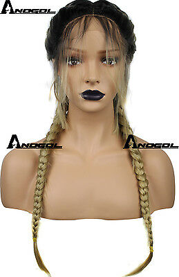Anogol Synthetic Baby Hair Braided Lace Front Wig Long Black Ombre Blonde Wigs