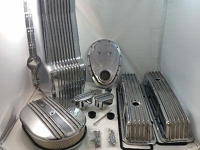 Polished Finned SB Chevy SBC Engine Dress Up Kit Tall 305 350 1979-1986 RH Stick