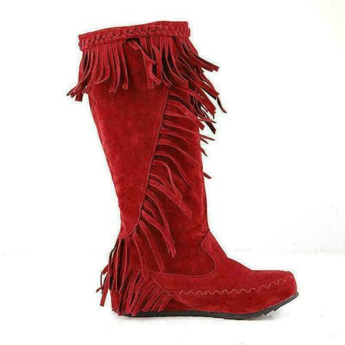 Women/'s Fringe Flat Shoes Knee High Boots Pull On Tassel Mid Calf Moccasin Boots