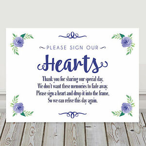 Image Is Loading Navy Blue Wedding Sign Our Hearts Guest Book