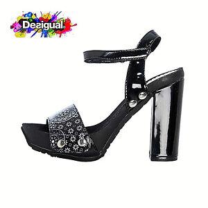 the latest d769c d1739 Details about Sandali Desigual tacco alto moda scarpe casual Samba Alhambra  vernice 18SSHP56