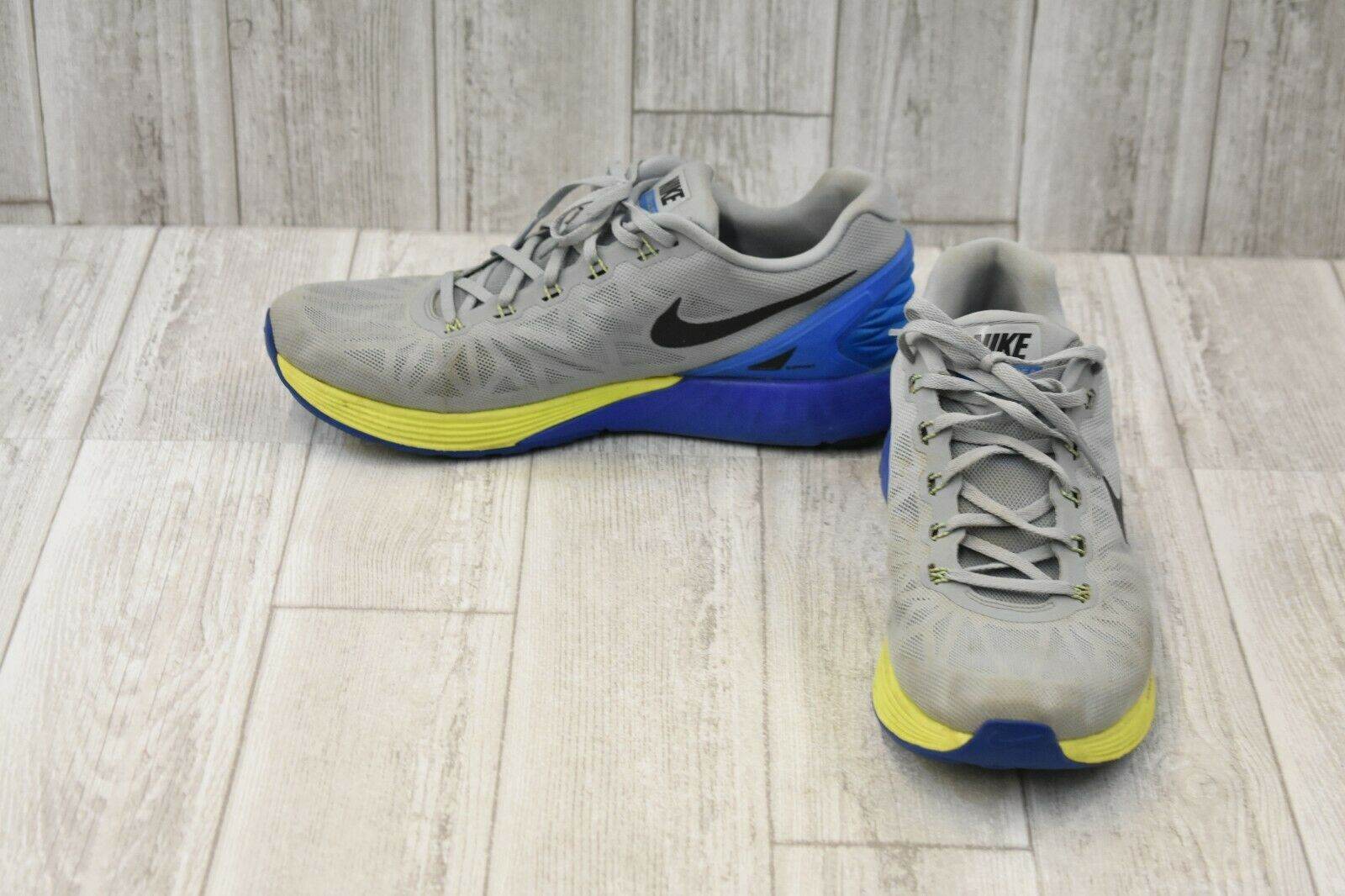 Nike LunarGlide 6 Running shoes, Men's Size 12, Charcoal bluee Yellow