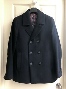 a8a4b958ab3 Details about Ted Baker Zachary Men's Pea Coat Jacket Navy Blue Wool Size X  Large