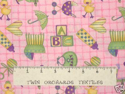 DEBBIE MUMM Cotton Fabric Quilt Pink Baby Toys 1//2 Yds