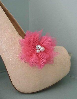 2 Cerise PINK anotó Clips Para Zapatos Con Perla Y Diamante Centro