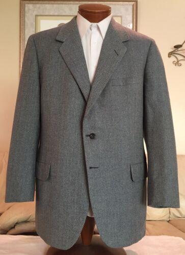Oxxford Clothes Mens Gray Herringbone 2 Btn Wool Blazer Sz 44 T L Excellent!