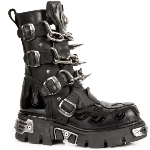 New Rock Mens Black Leather Skull Flame Reactor Boots M.727-S1