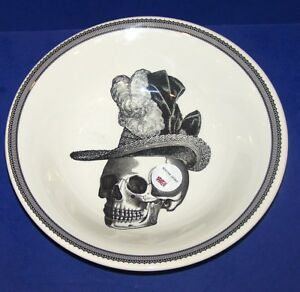 LOVELY-VICTORIAN-ENGLISH-POTTERY-HALLOWEEN-SKELETON-amp-HAT-10-3-8-034-SERVING-BOWL