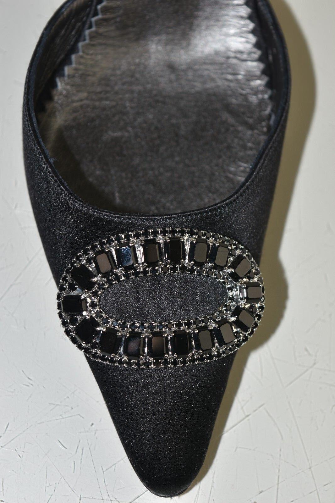NEW Manolo Blahnik Dorsay Hangisi Black CRYSTALS Jeweled Satin Pumps Pumps Pumps shoes 40 c550ef