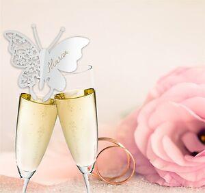 Hochzeit Tischkärtchen Lasercut Schmetterling für den Glasrand Laser Kontur