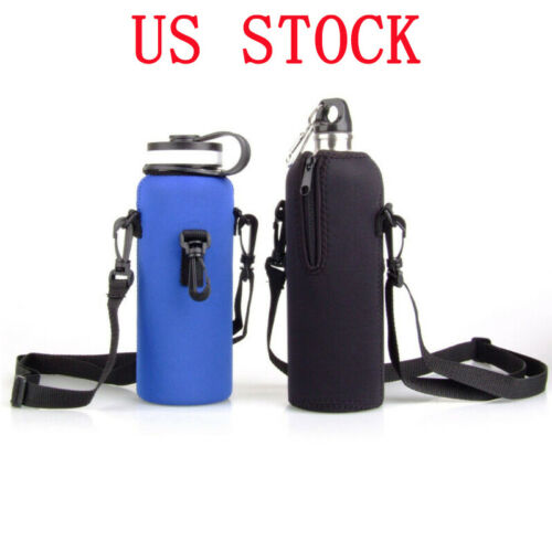 Neoprene Water Bottle Outdoor Carrier Insulated Cover Bag w//Strap Holder Pouch
