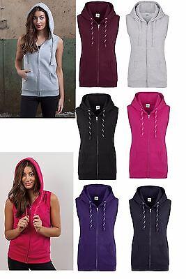 70b433e4 Just Cool Womens Ladies Girlie sleeveless Hooded Zipper Zip Hoodie zoodie  Jumper | eBay