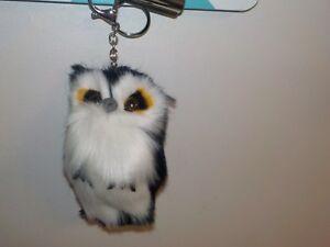 Fluffy 5 INCH Owl Keychain Pendant Womens Key Ring Faux Rabbit Fur ... c1dbca872