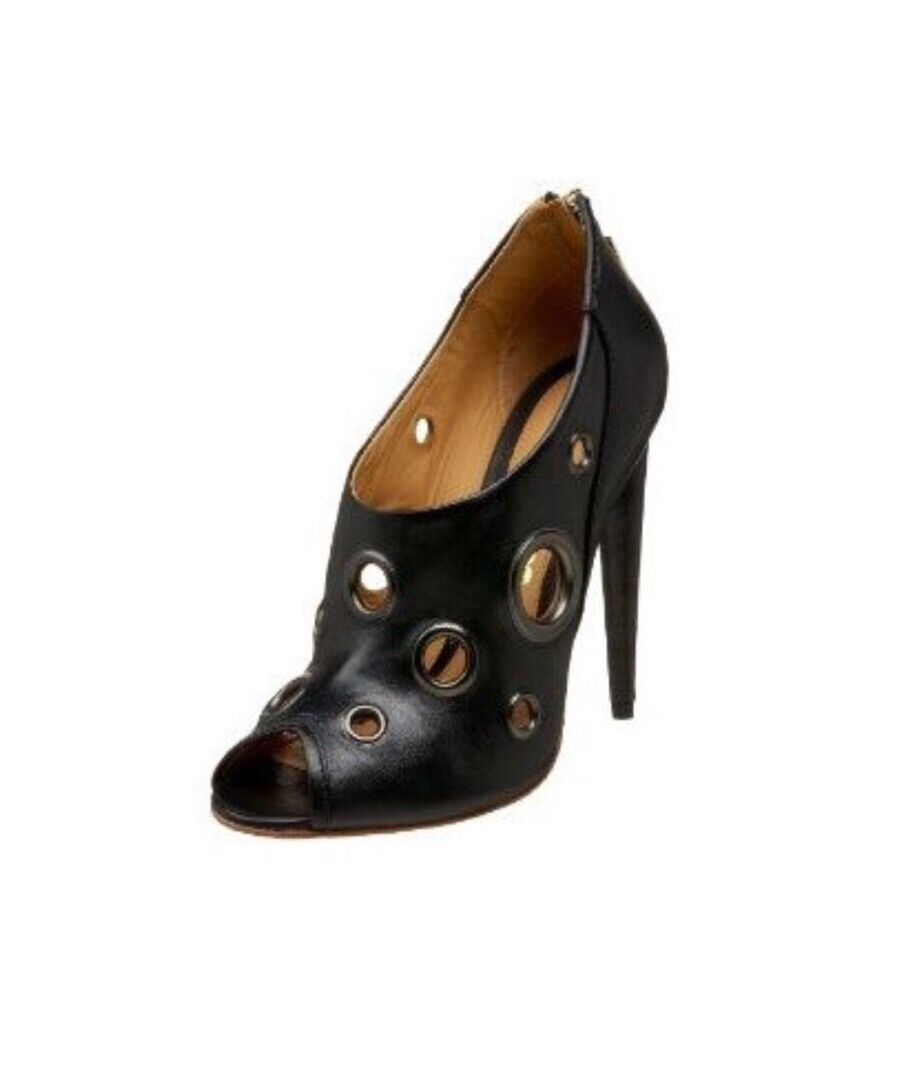 L.A.M.B Raina Black Peep Toe Ankle Bootie Heels Size 8