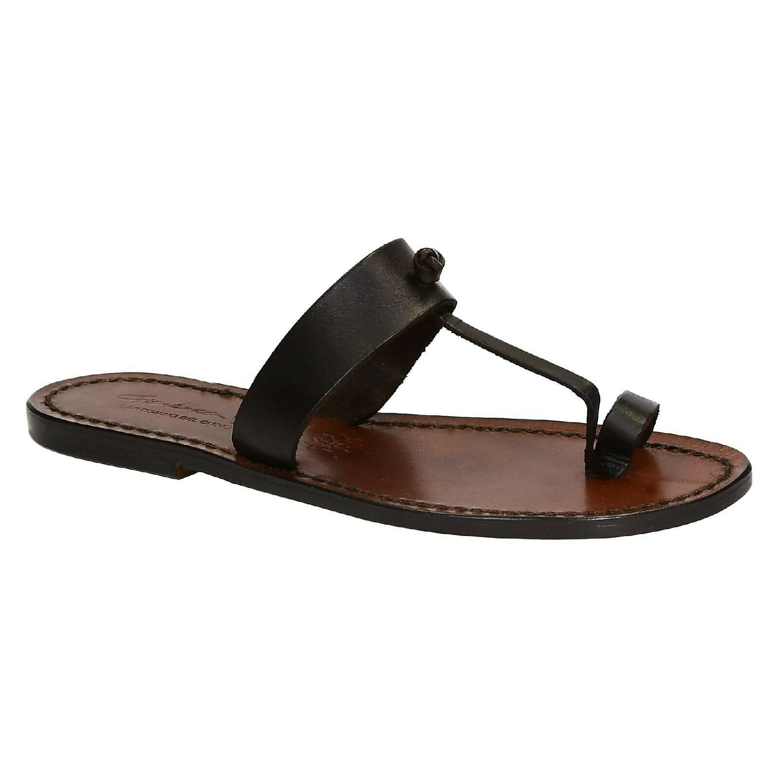 Handmade women thong slippers shoes flip flops dark brown leather Made in