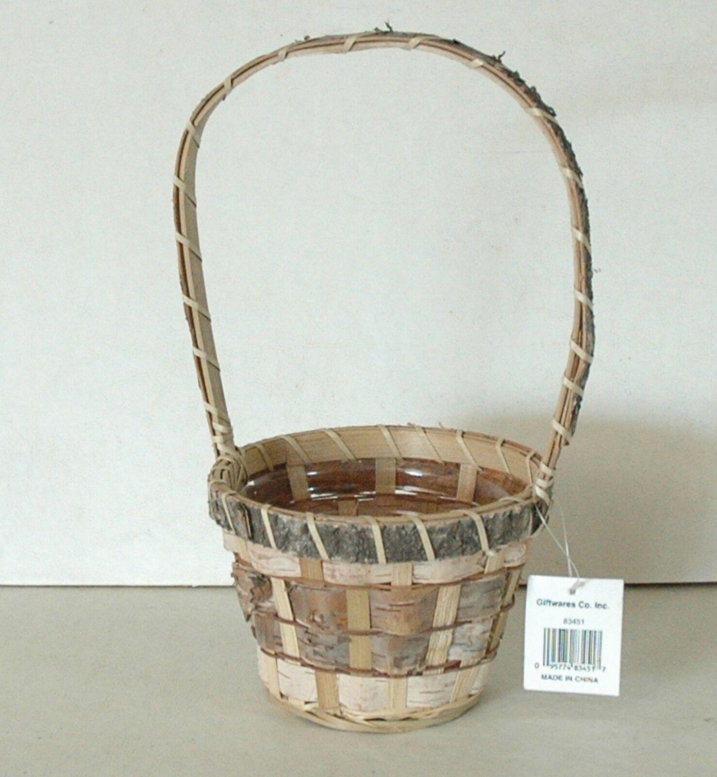 12 Birch Bark Baskets - w Nice Liner -11  High 5  Round Opening - Free Shipping
