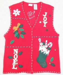 Christmas-Sweater-Vest-Red-Solid-Large-Ramie-Cotton-Noel-Cardigan-Bobbie-Brooks