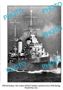 OLD-LARGE-PHOTO-WWII-AUSTRALIAN-BATTLESHIP-HMAS-SYDNEY-c1940