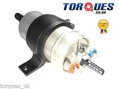 Bosch 044 Black Billet Fuel Pump Bracket with 10an Inlet 8an outlet fittings