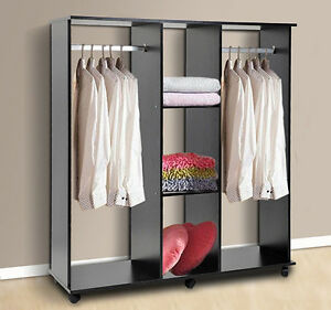 armoire de rangement v tements dressing penderie roulettes 120x40x128cm noir ebay. Black Bedroom Furniture Sets. Home Design Ideas