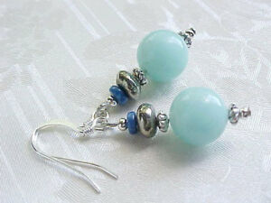 Amazonite-Earrings-Aqua-Blue-Pyrite-Lapis-Lazuli-Sundance-USA-Artisan-Gemstone