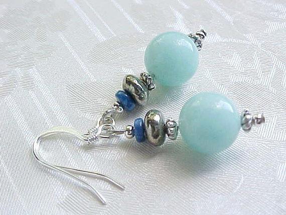 Amazonite Earrings Aqua Blue Pyrite Lapis Lazuli Sundance USA Artisan Gemstone