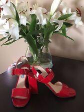 Prada Patent Double Strap Block Heel Sandal 37.5 Rosso Red - Authentic