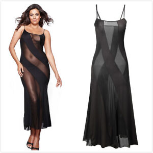 1e8f06796 sexy long lingerie black transparent nightwear hot dress Plus size S ...