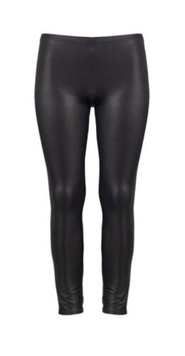 New Girls Kids Wet Look Legging Shiny Full Length PVC Tartan Check Legging 7-13