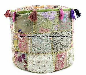 Indian-Ottoman-Cover-pouffe-Small-Vintage-Patchwork-Foot-Stool-Decorative-Throw