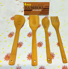 4Pcs  Bamboo Wooden Kitchen Cooking Slotted Spoon Turner Utensil Set